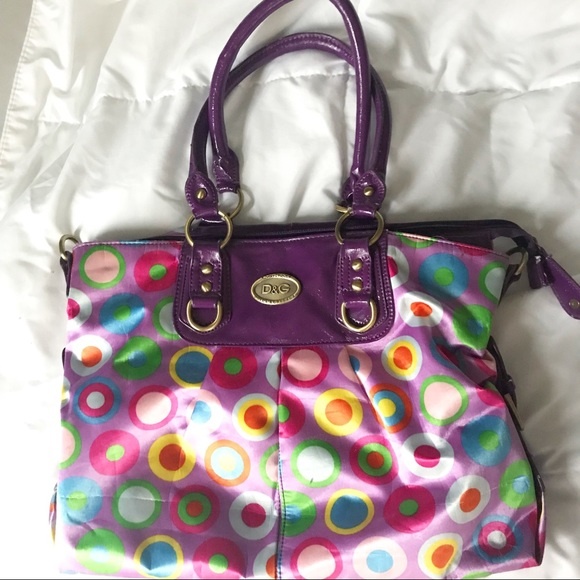 Dolce   Gabbana Handbags - Dolce   Gabbana Purple + Rainbow Polka Dot Purse 6ab7fd353e097